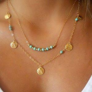 Bohemian Sand-dollar beaded multilayer necklace